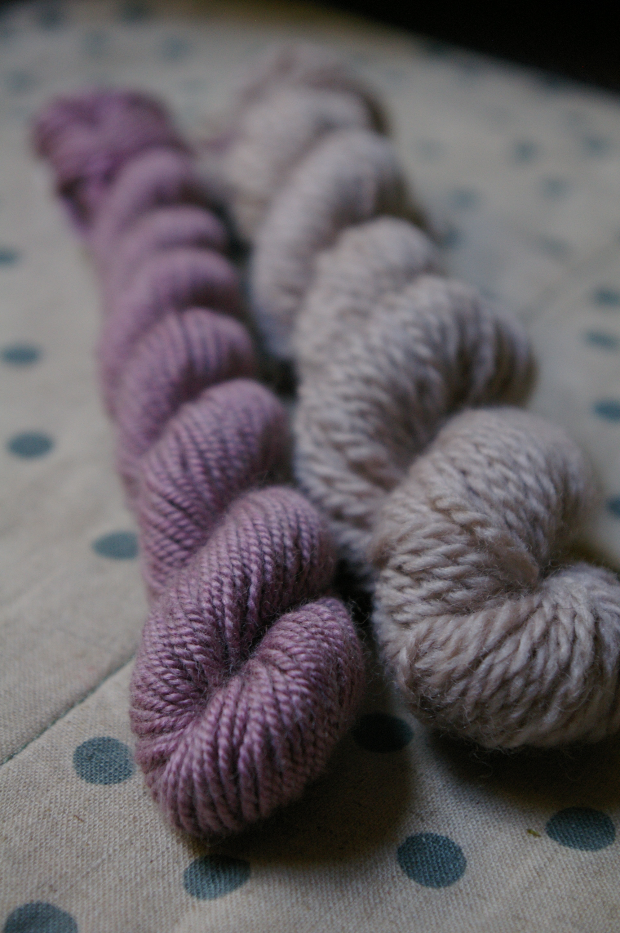 Purple basil on wool/ silk and wool
