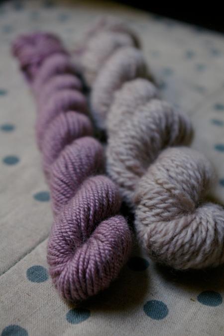Purple basil on wool/ silk and wool