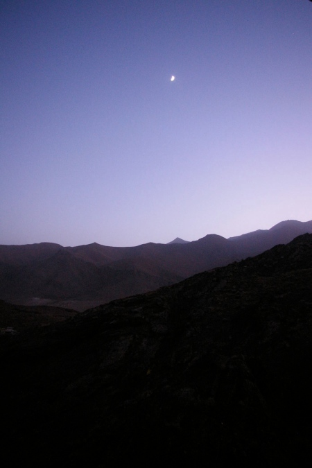 View onto the mountains at dusk