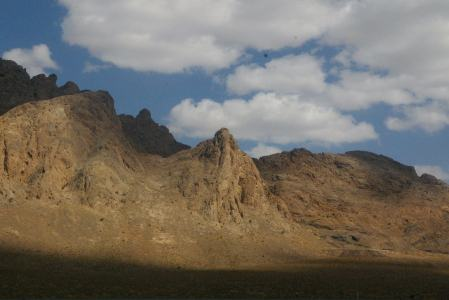 Jagged peaks and clouds